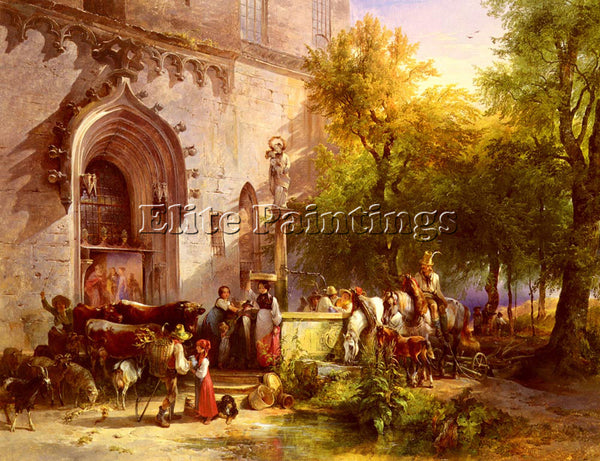 FRIEDRICH GAUERMANN DER DORFBRUNN ARTIST PAINTING REPRODUCTION HANDMADE OIL DECO