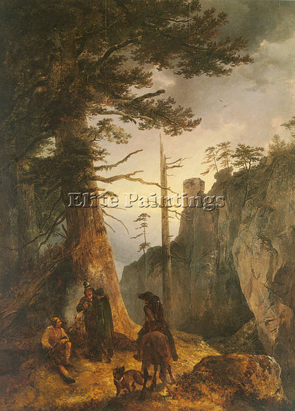 FRIEDRICH GAUERMANN JAGER VOR EINER ARTIST PAINTING REPRODUCTION HANDMADE OIL