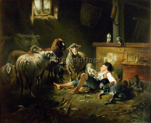 FRIEDRICH OTTO GEBLER SHEPHERD ARTIST PAINTING REPRODUCTION HANDMADE OIL CANVAS