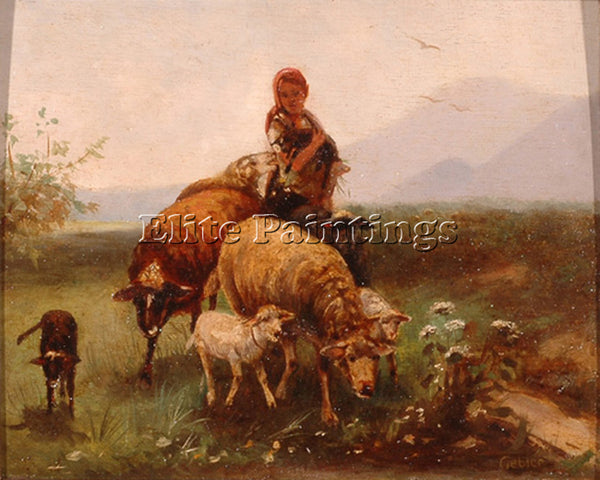 FRIEDRICH OTTO GEBLER SHEPHERDESS ARTIST PAINTING REPRODUCTION HANDMADE OIL DECO
