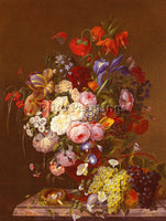 BELGIAN GEIT F VAN STILL LIFE WITH ROSES ARTIST PAINTING REPRODUCTION HANDMADE