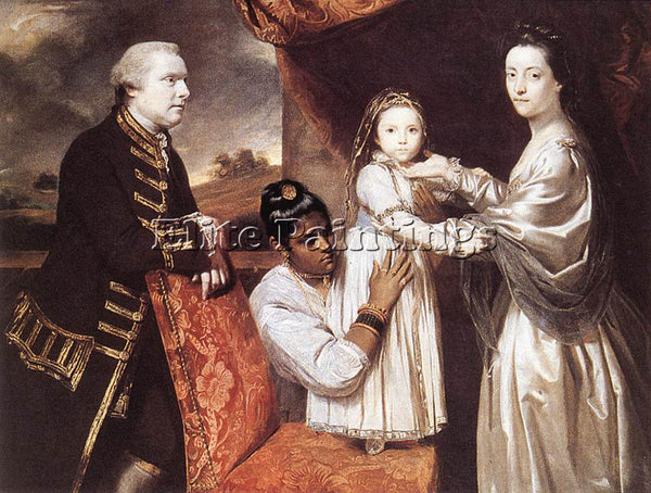 JOSHUA REYNOLDS GEORGE CLIVE AND HIS FAMILY ARTIST PAINTING HANDMADE OIL CANVAS