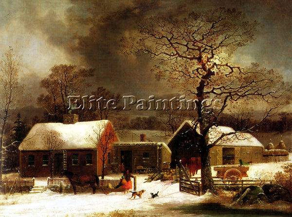 AMERICAN GEORGE HENRY DURRIE WINTER SCENE IN NEW HAVEN ARTIST PAINTING HANDMADE