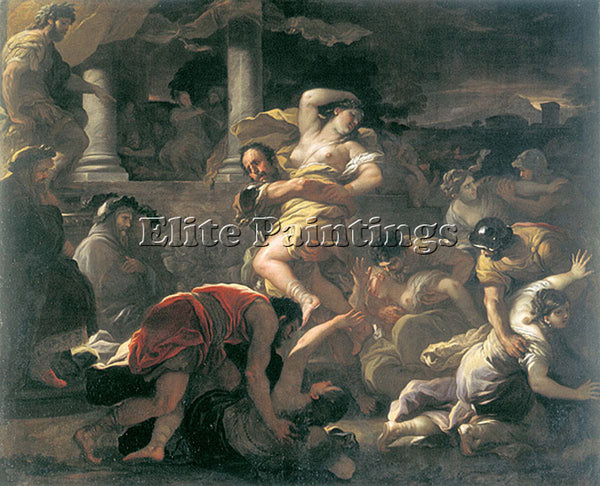 LUCA GIORDANO IL RATTO DELLE SABINE ARTIST PAINTING REPRODUCTION HANDMADE OIL