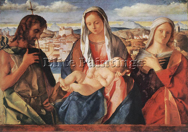 GIOVANNI BELLINI MADONNA AND CHILD WITH ST JOHN ARTIST PAINTING REPRODUCTION OIL