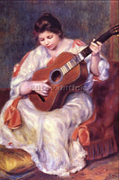 RENOIR GIRL PLAYING GUITAR ARTIST PAINTING REPRODUCTION HANDMADE OIL CANVAS DECO