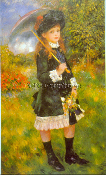 RENOIR GIRL WITH PARASOL ARTIST PAINTING REPRODUCTION HANDMADE CANVAS REPRO WALL