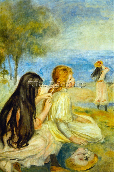 RENOIR GIRLS BY THE SEASIDE ARTIST PAINTING REPRODUCTION HANDMADE OIL CANVAS ART