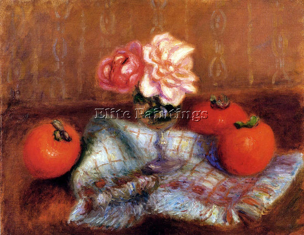 WILLIAM GLACKENS ROSES AND PERSIMMONS ARTIST PAINTING REPRODUCTION HANDMADE OIL