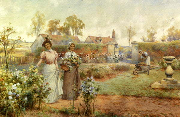 ALFRED GLENDENING AUGUSTUS A LADY AND HER MAID PICKING CHRYSANTHEMUMS ARTIST OIL