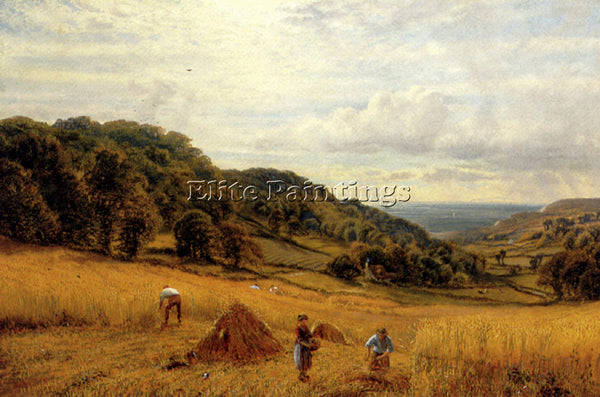 ALFRED GLENDENING AUGUSTUS HARVESTING AT LUCCOMBE ISLE OF WIGHT ARTIST PAINTING