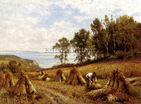 ALFRED GLENDENING AUGUSTUS IN CORNFIELDS NEAR LUCCOMBE ISLE OF WIGHT OIL CANVAS