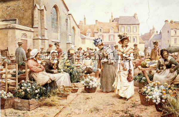 ALFRED GLENDENING AUGUSTUS FLOWER MARKET IN FRENCH TOWN ARTIST PAINTING HANDMADE