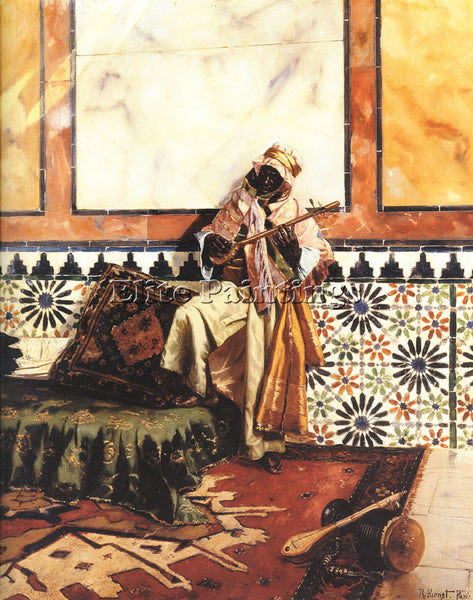 RUDOLF ERNST GNAOUA IN A NORTH AFRICAN INTERIOR ARTIST PAINTING REPRODUCTION OIL