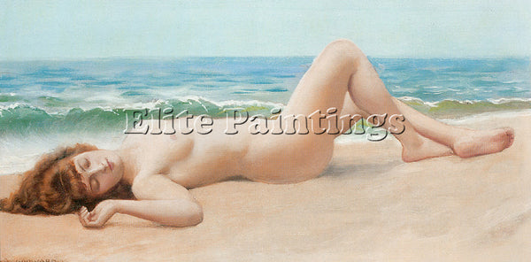 JOHN WILLIAM GODWARD NU SUR LA PLAGE 2 ARTIST PAINTING REPRODUCTION HANDMADE OIL