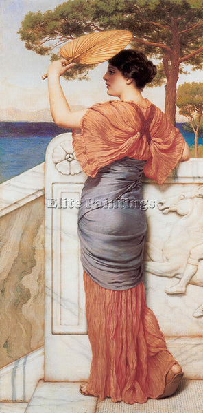 JOHN WILLIAM GODWARD ON THE BALCONY 1911 ARTIST PAINTING REPRODUCTION HANDMADE