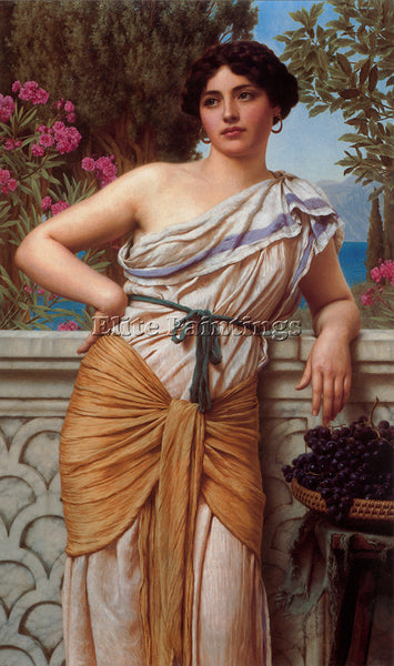 JOHN WILLIAM GODWARD REVERIE 1912 ARTIST PAINTING REPRODUCTION HANDMADE OIL DECO