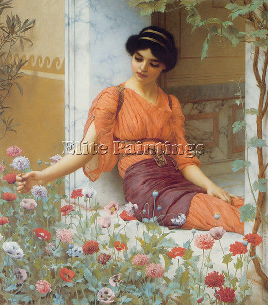 JOHN WILLIAM GODWARD SUMMER FLOWERS 1903 ARTIST PAINTING REPRODUCTION HANDMADE