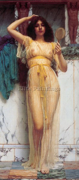 JOHN WILLIAM GODWARD THE MIRROR 1899 ARTIST PAINTING REPRODUCTION HANDMADE OIL