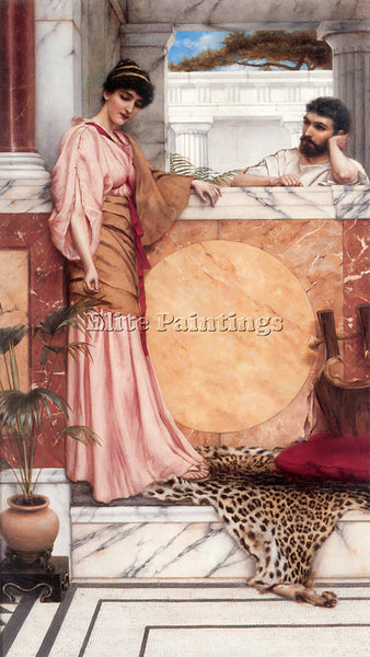JOHN WILLIAM GODWARD WAITING FOR AN ANSWER 1 ARTIST PAINTING HANDMADE OIL CANVAS