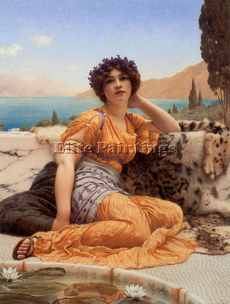 JOHN  GODWARD WITH VIOLETS WREATHED AND ROBE OF SAFFRON HUE ARTIST PAINTING OIL