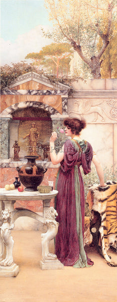 JOHN WILLIAM GODWARD  AT THE GARDEN SHRINE POMPEII ARTIST PAINTING REPRODUCTION