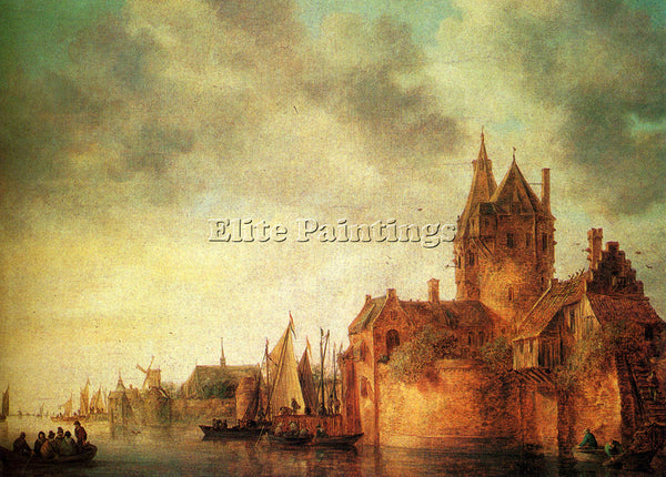 JAN VAN GOYEN CASTLE BY RIVER WITH SHIPPING AT QUAY ARTIST PAINTING REPRODUCTION