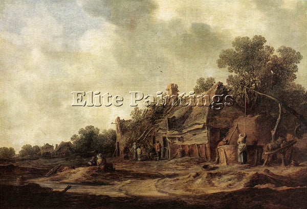 JAN VAN GOYEN PEASANT HUTS WITH A SWEEP WELL ARTIST PAINTING HANDMADE OIL CANVAS