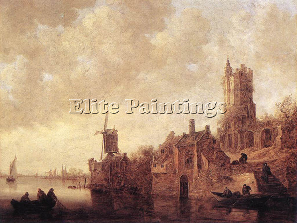 JAN VAN GOYEN RIVER LANDSCAPE WITH A WINDMILL AND A RUINED CASTLE ARTIST CANVAS