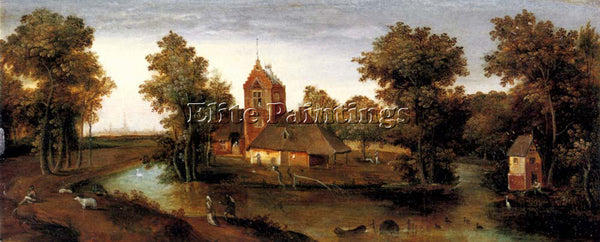 ABEL GRIMMER A MOATED TOWER WITH FARMHOUSES ARTIST PAINTING HANDMADE OIL CANVAS