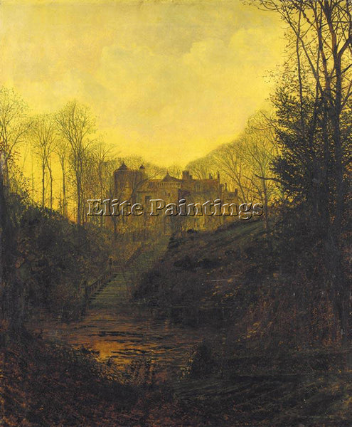 JOHN ATKINSON GRIMSHAW A MANOR HOUSE IN AUTUMN ARTIST PAINTING REPRODUCTION OIL