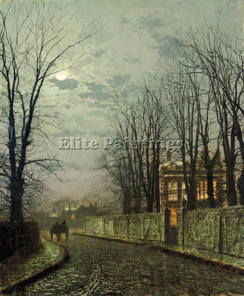 JOHN ATKINSON GRIMSHAW A WINTRY MOON ARTIST PAINTING REPRODUCTION HANDMADE OIL