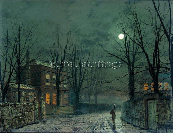 JOHN ATKINSON GRIMSHAW THE OLD HALL UNDER MOONLIGHT ARTIST PAINTING REPRODUCTION