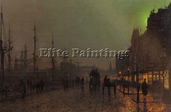 JOHN ATKINSON GRIMSHAW GOUROCK NEAR THE CLYDE SHIPPING DOCKS ARTIST PAINTING OIL