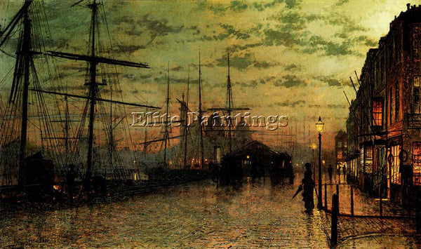 JOHN ATKINSON GRIMSHAW HUMBER DOCKS HULL ARTIST PAINTING REPRODUCTION HANDMADE