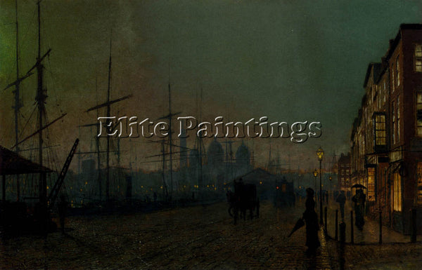 JOHN ATKINSON GRIMSHAW HUMBER DOCKSIDE HULL ARTIST PAINTING HANDMADE OIL CANVAS