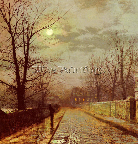 JOHN ATKINSON GRIMSHAW LANE IN CHESHIRE ARTIST PAINTING REPRODUCTION HANDMADE