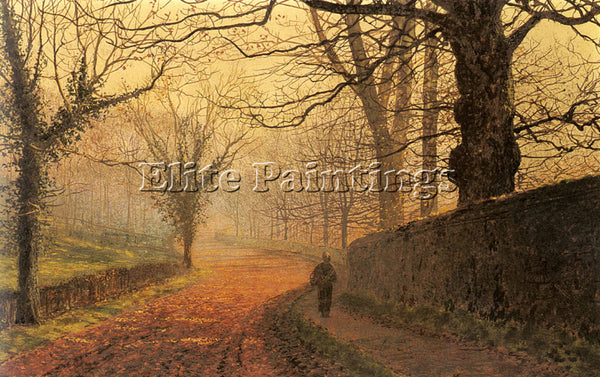 JOHN ATKINSON GRIMSHAW NOVEMBER AFTERNOON STAPLETON PARK ARTIST PAINTING CANVAS