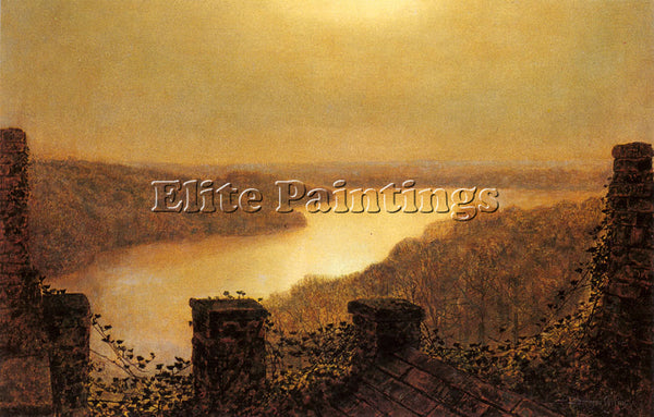 JOHN ATKINSON GRIMSHAW ROUNDHAYLAKE FROM CASTLE ARTIST PAINTING REPRODUCTION OIL