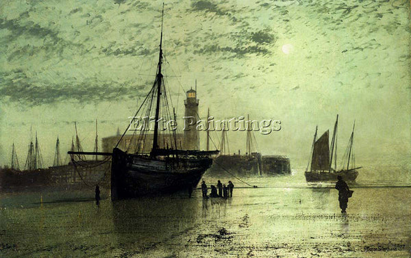 JOHN ATKINSON GRIMSHAW THE LIGHTHOUSE AT SCARBOROUGH ARTIST PAINTING HANDMADE