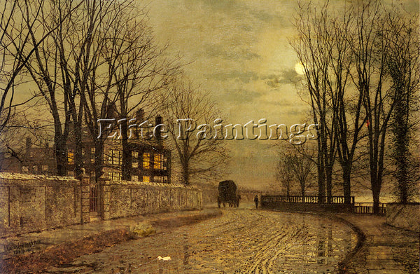 JOHN ATKINSON GRIMSHAW THE TURN OF THE ROAD ARTIST PAINTING HANDMADE OIL CANVAS