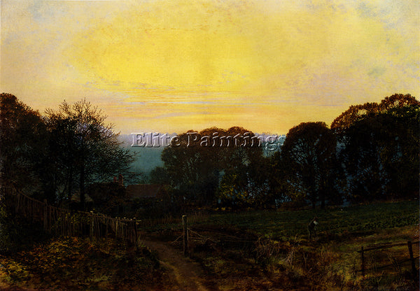 JOHN ATKINSON GRIMSHAW TWILIGHT THE VEGETABLE GARDEN ARTIST PAINTING HANDMADE