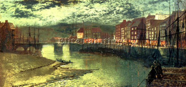 JOHN ATKINSON GRIMSHAW WHITBY DOCKS ARTIST PAINTING REPRODUCTION HANDMADE OIL