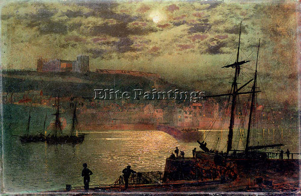 JOHN ATKINSON GRIMSHAW WHITBY FROM SCOTCH HEAD 1 ARTIST PAINTING HANDMADE CANVAS