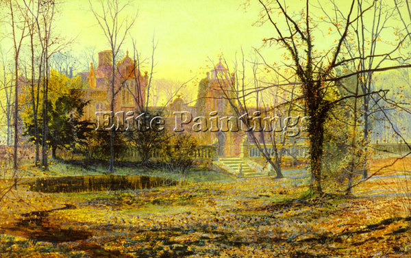 JOHN ATKINSON GRIMSHAW EVENING KNOSTROP OLD HALL ARTIST PAINTING HANDMADE CANVAS