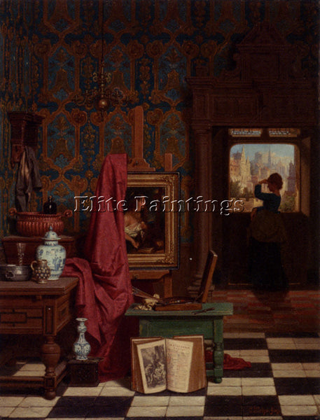 BELGIAN GRIPS CHARLES JOSEPH THE ARTISTS STUDIO ARTIST PAINTING REPRODUCTION OIL