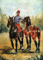 TOULOUSE-LAUTREC GROOM WITH TWO HORSES ARTIST PAINTING REPRODUCTION HANDMADE OIL