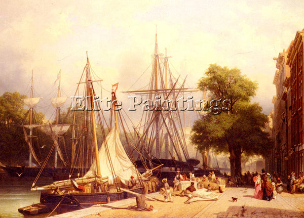 HOLLAND GROOT FRANS ARNOLD BREUHAUS DE ACTIVITY BY THE DOCKS ARTIST PAINTING OIL