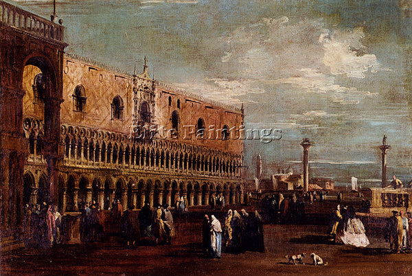 FRANCESCO GUARDI VENICE VIEW PIAZZETTA LOOKING SOUTH WITH PALAZZO DUCALE ARTIST
