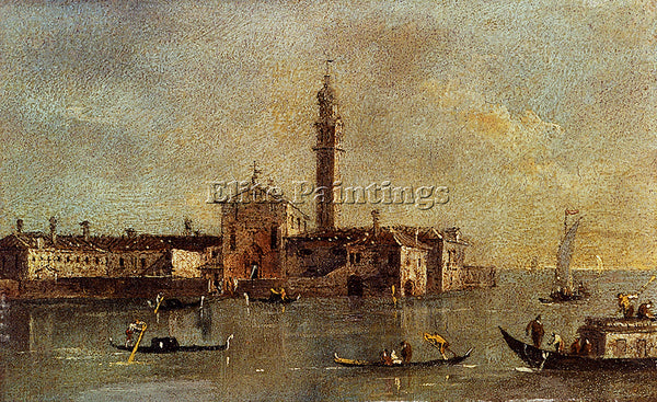 FRANCESCO GUARDI VIEW OF THE ISLAND OF SAN GIORGIO IN ALGA VENICE ARTIST CANVAS